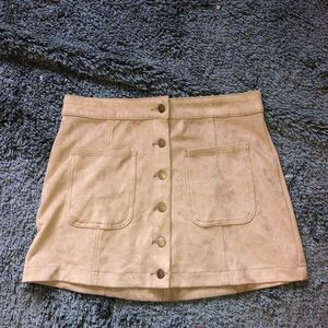 Pleather Skirt Tan Taupe Alterd State Button Down